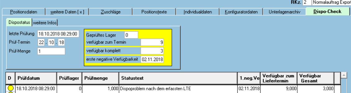 Dispostatus in cimERP. Screenshot