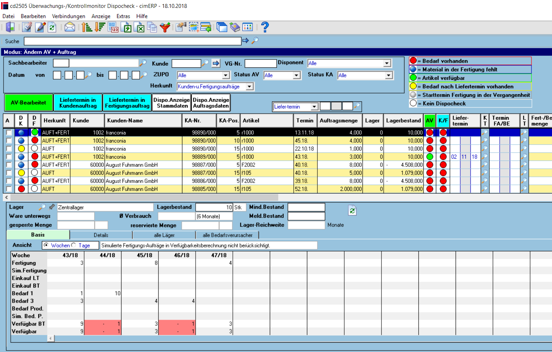 Kontrollprogramm Dispo-Check in cimERP