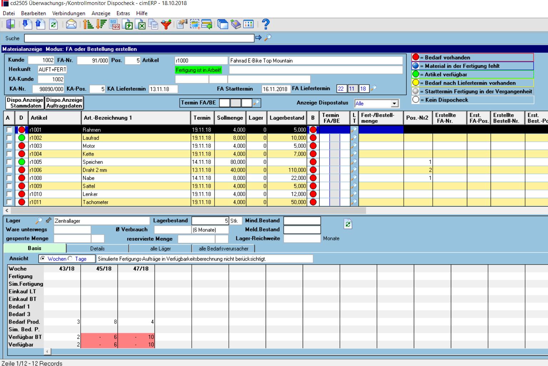 Verfügbarkeitsproblem Fertigung in cimERP. Screenshot.